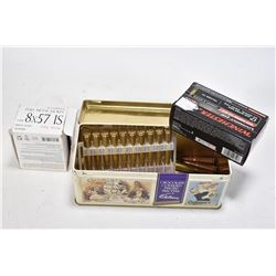 Metal ammo. tin and contents including two 20 count boxes of Norman 7.62 Russian, plus eleven 20 cou