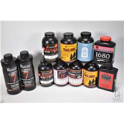 Selection of gun powders including muzzle loading, shotgun powder, small and large rifle and handgun