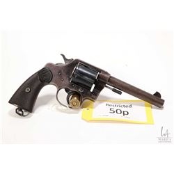 Restricted handgun Colt model New Service, .455 Rev (Eley) six double action revolver, w/ bbl length