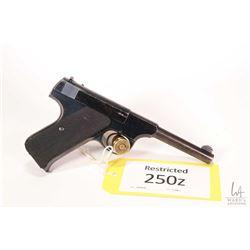 Restricted handgun Colt model Woodsman, .22 LR semi automatic, w/ bbl length 114mm [Blued finish wit