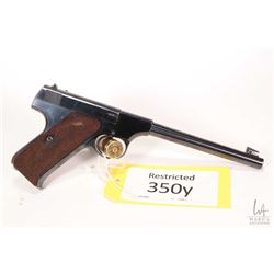 Restricted handgun Colt model Woodsman, .22 LR ten shot semi automatic, w/ bbl length 165mm [Blued f