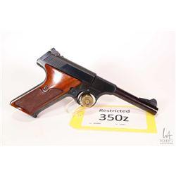Restricted handgun Colt model Woodsman Sport, .22 LR ten shot semi automatic, w/ bbl length 114mm [B
