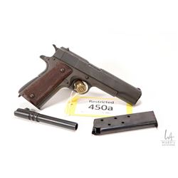 Restricted handgun Colt model M 1911 A1 US Army, .45 ACP eight shots semi automatic, w/ bbl length 1