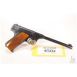 Restricted handgun Colt model Woodsman, .22 LR ten shot semi automatic, w/ bbl length 165mm [Blued f