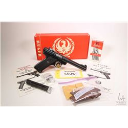 Restricted handgun Ruger model MK I Target, .22 LR ten shot semi automatic, w/ bbl length 140mm [Blu