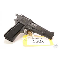 Restricted handgun Browning model Hi Power MK.I*, 9mm ten shot semi automatic, w/ bbl length 119mm [
