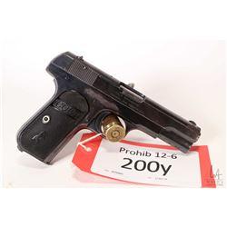 Prohib 12-6 handgun Colt model 1903 Pocket Hammerless, .380 auto eight shot semi automatic, w/ bbl l
