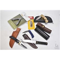 Selection of knives including an Imperial knife with Remington sheath, a Schrade Heritage Edition kn