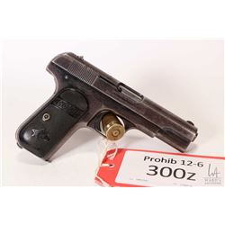 Prohib 12-1 handgun Colt model 1903 Pocket Hammerless, .380 auto seven shot semi automatic, w/ bbl l