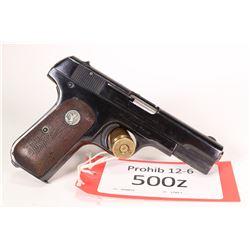 Prohib 12-6 handgun Colt model 1903 Pocket Hammerless, .38 auto eight shot semi automatic, w/ bbl le