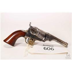 Antique handgun Colt model 1862 Conversion, .36 Rimfire five shot single action revolver, w/ bbl len