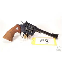 Restricted handgun Colt model .357, .357 Magnum six shot double action revolver, w/ bbl length 152mm