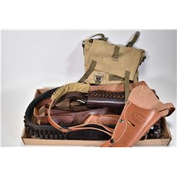 Selection of gun leather including shoulder harness with US logo, forearm bullet holder, assorted be