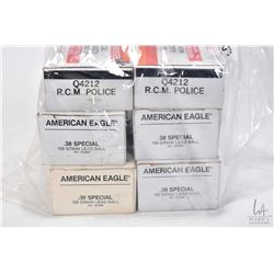 Selection of ammunition including four 50 count boxes of American Eagle .38 SPL 158 grain, one 50 co
