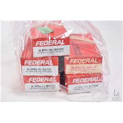 Five 50 count boxes of Federal .38 SPL Match, 148 grain wad cutter ammunition