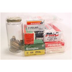 Selection of .44 cal ammunition including a 50 count box of Federal .44 REM Mag 220 grain, a 50 coun