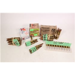 Selection of ammunition including two 25 count boxes of Hornady .38 auto 90 grain, a 50 count box of