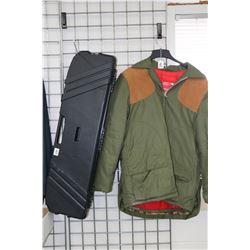 Men's large Lewein Clotting padded winter jacket and a Pro-Max hard gun case.