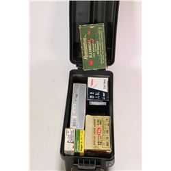 Green plastic ammo. case and contents including a 20 count box of Winchester Super X 45-70 Gov., a v