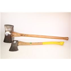 Two axes including a Walters double headed axe and a Sager splitting axe.