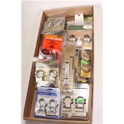 Selection of new in package scope rings and mounts, various makers including Leupold, Burris, Millet