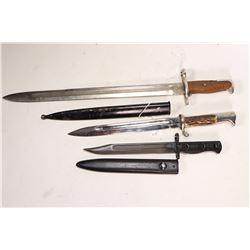 Three bayonets including one Mauser dress bayonet with scabbard, one M1 Gerand dress bayonet without