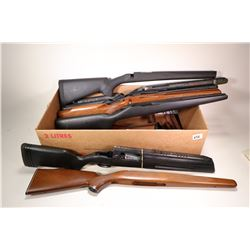 Selection of gun stocks including three Remington LA stocks ( 1 wood, 2 synthetic). Boyds Mosin Naga