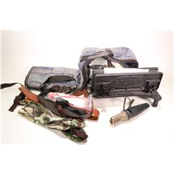 Various rifle slings and straps, one soft rifle case, a clamp on Stuart rifle rest and a Flextone an