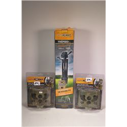 Three new in package SpyPoint items including two steel security box SB-T tree mount camera boxes an