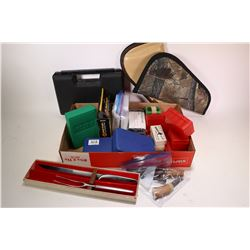 Selection of accessories including RCBS .300 Savage, three Bald Eagle cleaning kits, two security ke