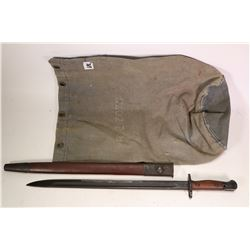 Military rifle bayonet with Austrian markings and scabbard plus a canvas bag.