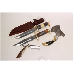 """A selection of handmade blades including two 8"""" hunting knives, one with sheath, a straight razor wi"""