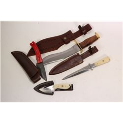 """Four handmade Ash knives including a 10"""" Bowie style knife with leather tooled sheath, a 6 1/2"""" dagg"""