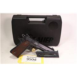 Restricted handgun Sig Sauer model 1911-22, .22 LR ten shot semi automatic, w/ bbl length 127mm [Blu