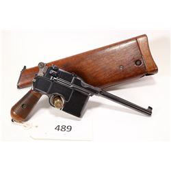 Restricted handgun Mauser model C96 Broomhandle, 7.63mm ten shot semi automatic, w/ bbl length 140mm
