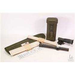 Selection of military item including Hensolodt Wetzlar scope appears to be PZF44- 2A1 with hard case
