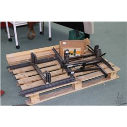 Selection of handmade target stands, a Cabala's gun rest and eight soft rifle cases.