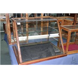 """Antique two tier glass showcase/retail display cabinet, note missing sliding doors at rear, 26 1/2"""""""""""