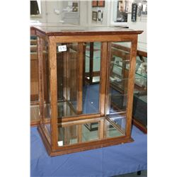 """Antique showcase/retail display cabinet with glazed sides, front and top and mirrored bottom, 19"""" X"""