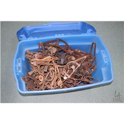 Tub of approximately 60 count of vintage leg hold traps
