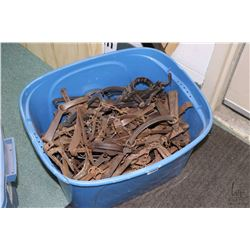 Tub of approximately 40 count of various vintage leg hold traps.