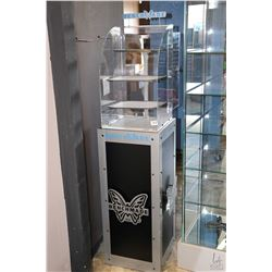 "Bench Wade retail display cabinet with cabinet base 15.5"" X 15.5"" X 37"" and curved plexiglass upper"