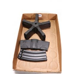 Selection of rifle magazines including five 5.56X45 Ultimags attached in one star style mount, all p