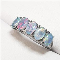 10K White Gold Opal Doubket(2.4ct) Ring (~Size 6) (~weight 1.7g), Made in Canada, Appraised Retail $