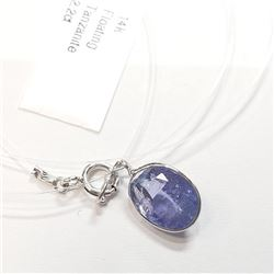 14K White Gold Tanzanite Floating Invicible(2.2ct) Necklace (~weight 0.71g), Made in Canada, Apprais