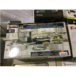 Kirkland 5-Ply Clad Stainless Steel Cookware Set-RETURN, SOLD AS IS
