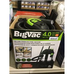 BigVac 15L Wet/Dry Stainless Steel Vacuum-RETURN, SOLD AS IS