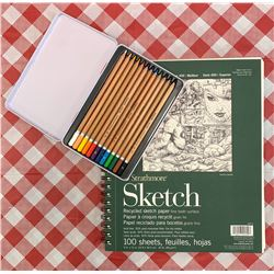 Sketch pad and colour pencils