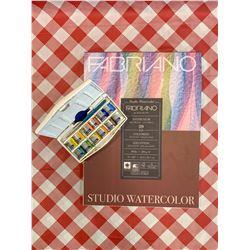 Watercolor pad and watercolors