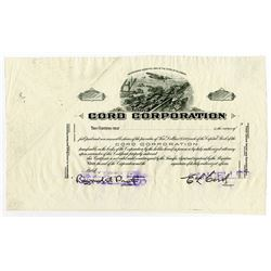 Cord Corp., ND (ca.1920-30's) Stock Certificate Proof.